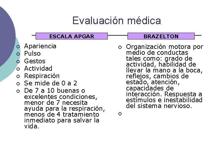 Evaluación médica ESCALA APGAR ¡ ¡ ¡ ¡ Apariencia Pulso Gestos Actividad Respiración Se