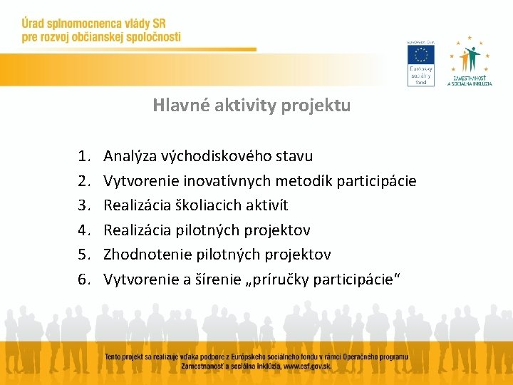 Hlavné aktivity projektu 1. 2. 3. 4. 5. 6. Analýza východiskového stavu Vytvorenie inovatívnych