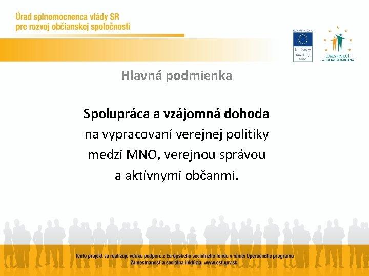 Hlavná podmienka Spolupráca a vzájomná dohoda na vypracovaní verejnej politiky medzi MNO, verejnou správou