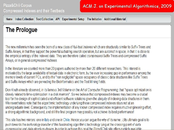 ACM J. on Experimental Algorithmics, 2009