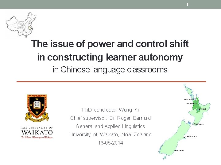 1 The issue of power and control shift in constructing learner autonomy in Chinese
