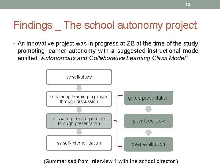 13 Findings _ The school autonomy project • An innovative project was in progress