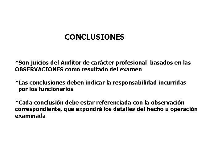 CONCLUSIONES *Son juicios del Auditor de carácter profesional basados en las OBSERVACIONES como resultado