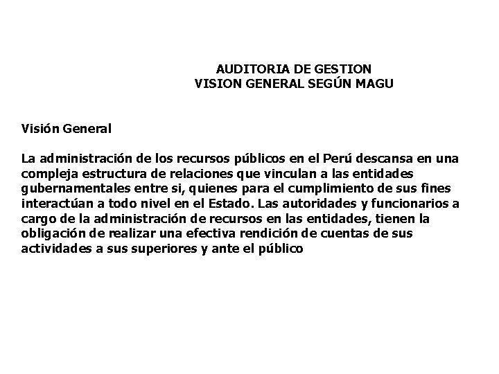 AUDITORIA DE GESTION VISION GENERAL SEGÚN MAGU Visión General La administración de los recursos