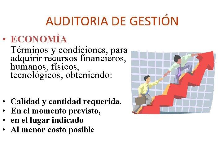 AUDITORIA DE GESTIÓN • ECONOMÍA Términos y condiciones, para adquirir recursos financieros, humanos, físicos,