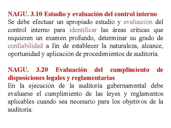 NAGU. 3. 10 Estudio y evaluación del control interno Se debe efectuar un apropiado
