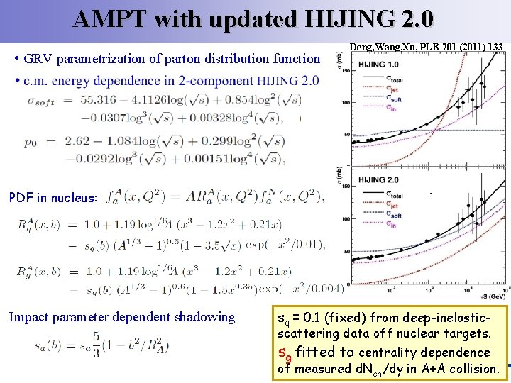 AMPT with updated HIJING 2. 0 • GRV parametrization of parton distribution function Deng,