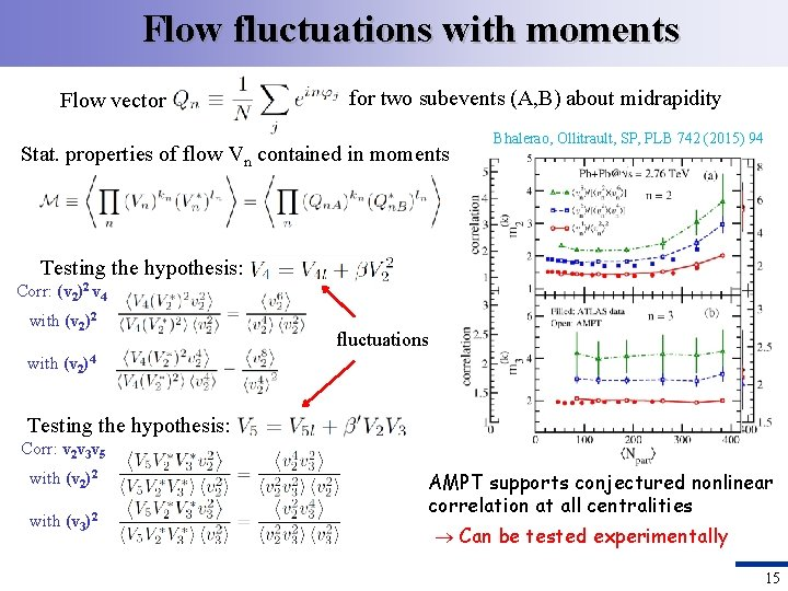 Flow fluctuations with moments Flow vector for two subevents (A, B) about midrapidity Stat.