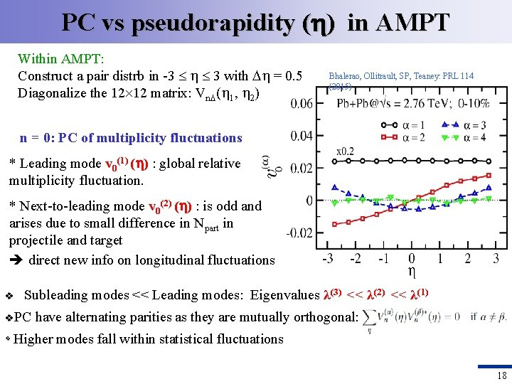PC vs pseudorapidity ( ) in AMPT Within AMPT: Construct a pair distrb in