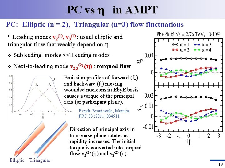 PC vs in AMPT PC: Elliptic (n = 2), Triangular (n=3) flow fluctuations *