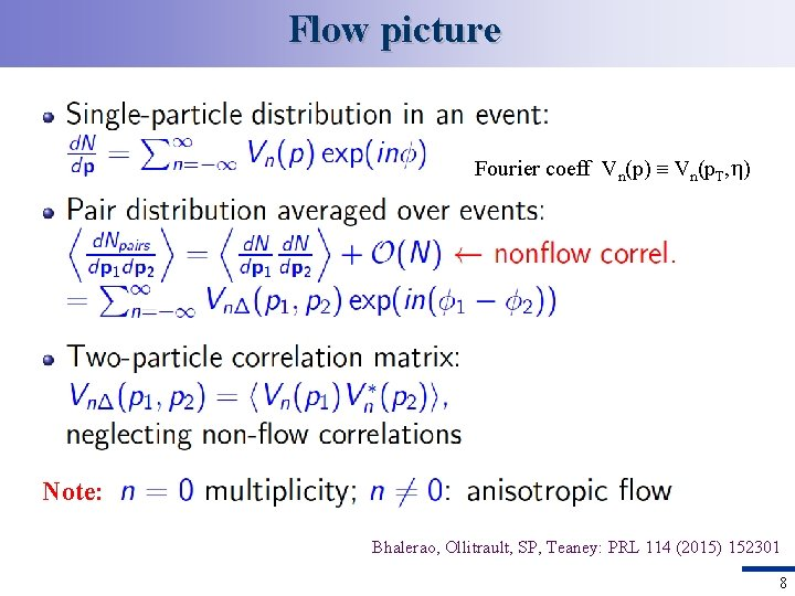 Flow picture Fourier coeff Vn(p) Vn(p. T, ) Note: Bhalerao, Ollitrault, SP, Teaney: PRL