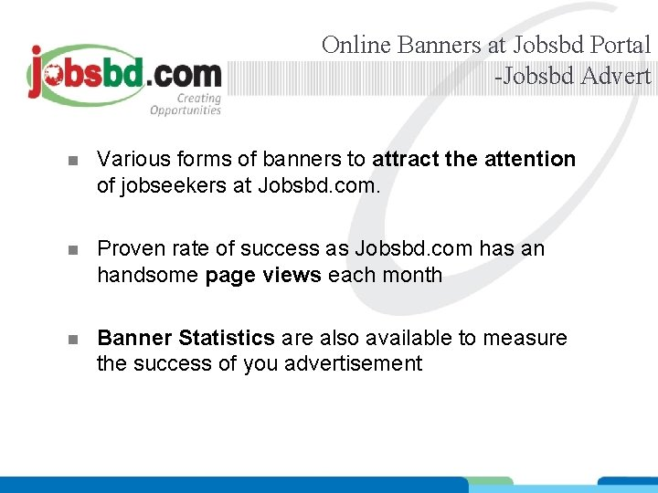 Online Banners at Jobsbd Portal -Jobsbd Advert n Various forms of banners to attract