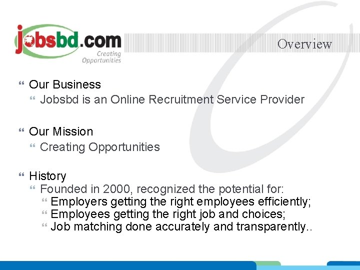 Overview Our Business Jobsbd is an Online Recruitment Service Provider Our Mission Creating Opportunities