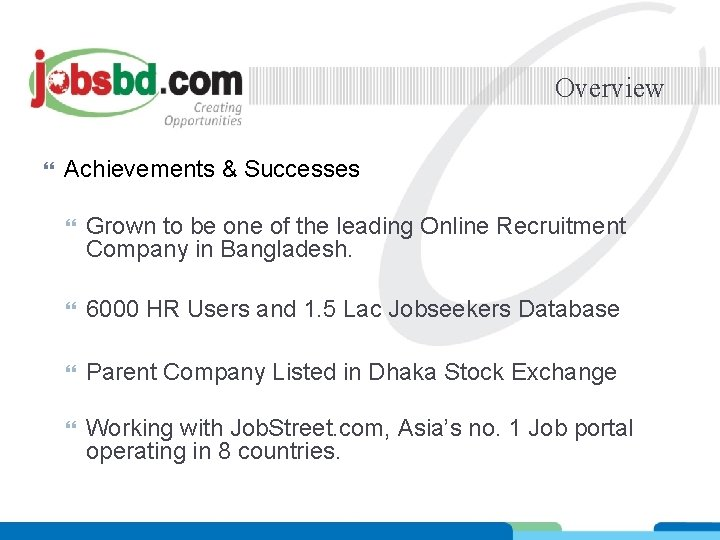 Overview Achievements & Successes Grown to be one of the leading Online Recruitment Company