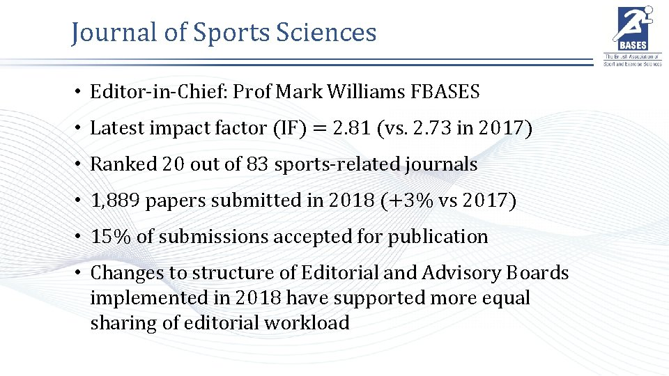 Journal of Sports Sciences • Editor-in-Chief: Prof Mark Williams FBASES • Latest impact factor
