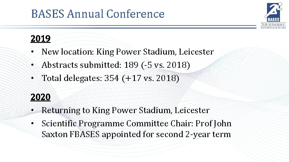 BASES Annual Conference 2019 • New location: King Power Stadium, Leicester • Abstracts submitted: