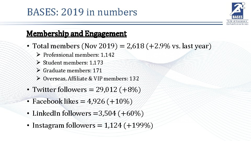 BASES: 2019 in numbers Membership and Engagement • Total members (Nov 2019) = 2,