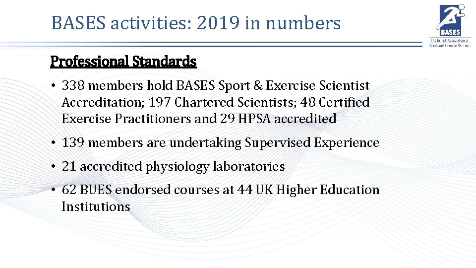 BASES activities: 2019 in numbers Professional Standards • 338 members hold BASES Sport &
