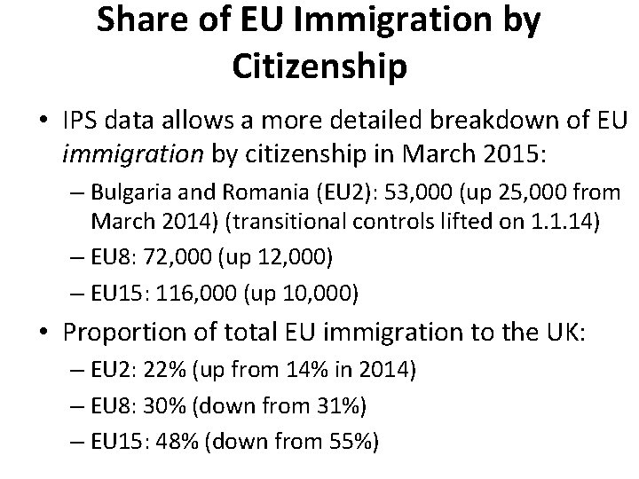 Share of EU Immigration by Citizenship • IPS data allows a more detailed breakdown