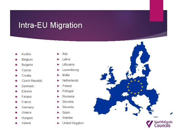 Intra-EU Migration Austria ► Italy Belgium ► Latvia Bulgaria ► Lithuania Cyprus ► Luxembourg