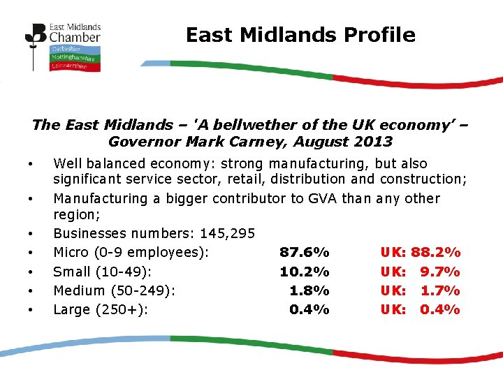 East Midlands Profile The East Midlands – 'A bellwether of the UK economy' –