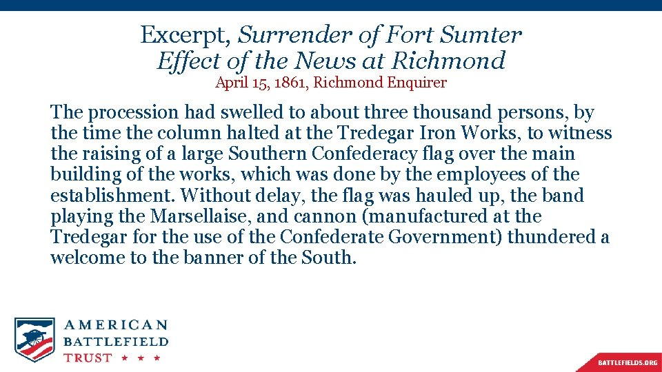 Excerpt, Surrender of Fort Sumter Effect of the News at Richmond April 15, 1861,