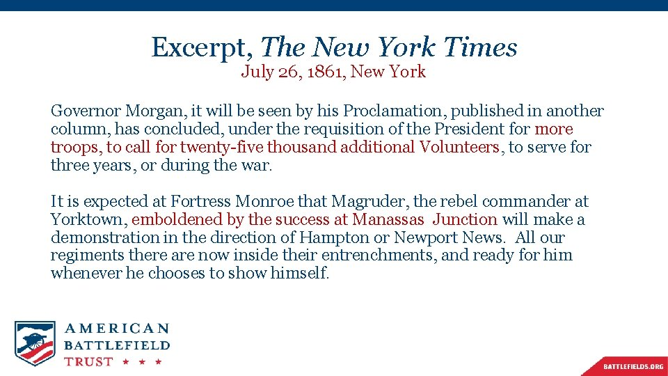 Excerpt, The New York Times July 26, 1861, New York Governor Morgan, it will