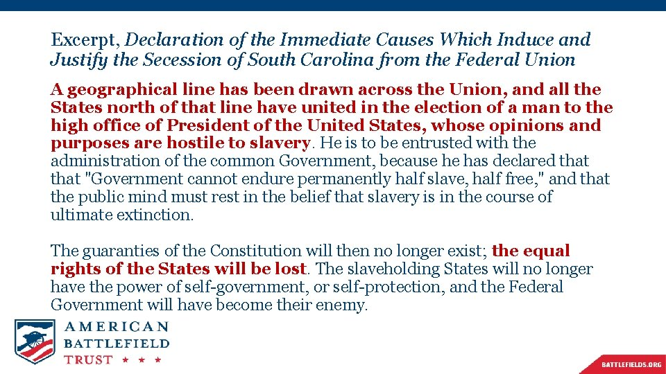 Excerpt, Declaration of the Immediate Causes Which Induce and Justify the Secession of South