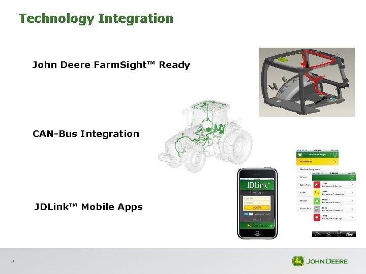 Technology Integration John Deere Farm. Sight™ Ready CAN-Bus Integration JDLink™ Mobile Apps 11