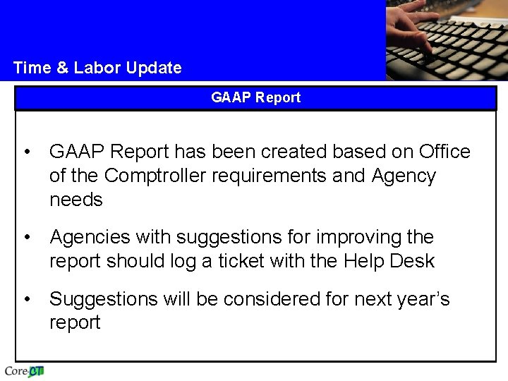Time & Labor Update GAAP Report • GAAP Report has been created based on