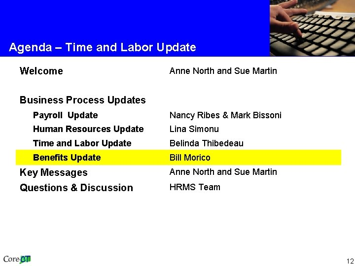 Agenda – Time and Labor Update Welcome Anne North and Sue Martin Business Process