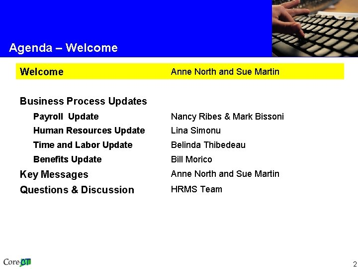 Agenda – Welcome Anne North and Sue Martin Business Process Updates Payroll Update Nancy