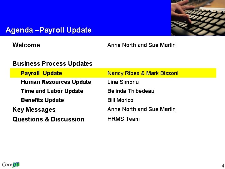 Agenda –Payroll Update Welcome Anne North and Sue Martin Business Process Updates Payroll Update