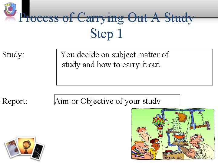 Process of Carrying Out A Study Step 1 Study: Report: You decide on subject