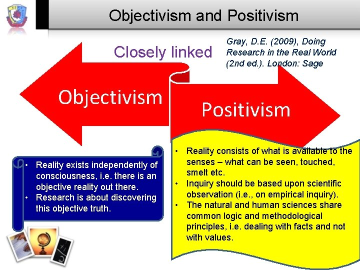 Objectivism and Positivism Closely linked Objectivism • Reality exists independently of consciousness, i. e.