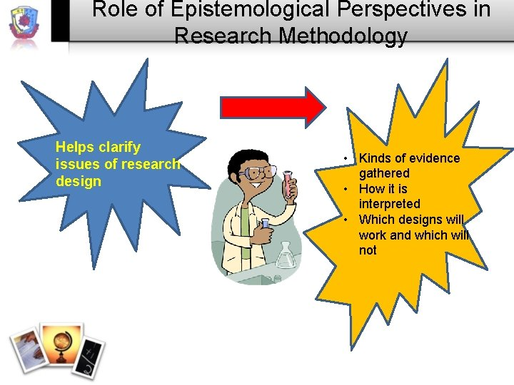 Role of Epistemological Perspectives in Research Methodology Helps clarify issues of research design •