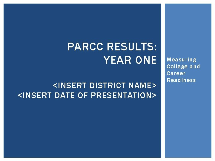 PARCC RESULTS: YEAR ONE <INSERT DISTRICT NAME> <INSERT DATE OF PRESENTATION> Measuring College and