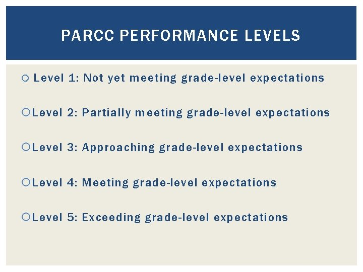 PARCC PERFORMANCE LEVELS Level 1: Not yet meeting grade-level expectations Level 2: Partially meeting