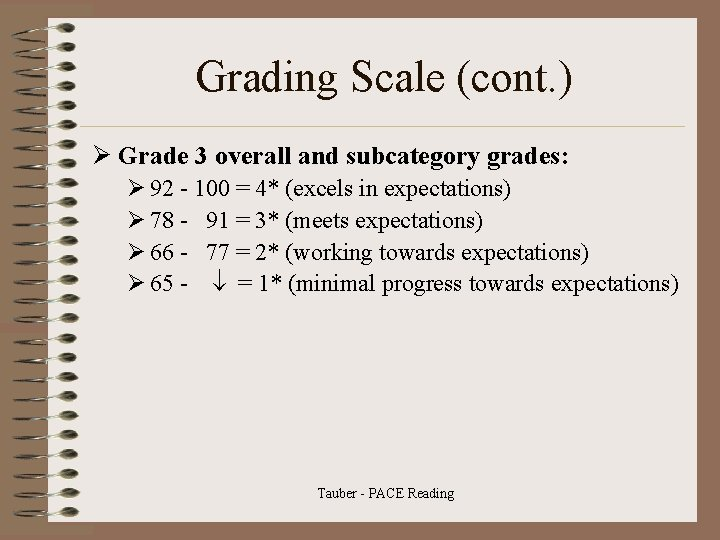 Grading Scale (cont. ) Ø Grade 3 overall and subcategory grades: Ø 92 -