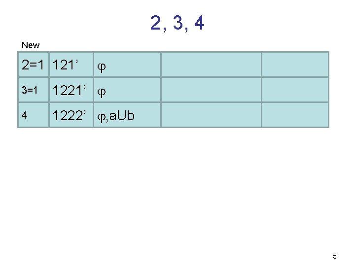 2, 3, 4 New 2=1 121' 3=1 1221' 4 1222' , a. Ub 5