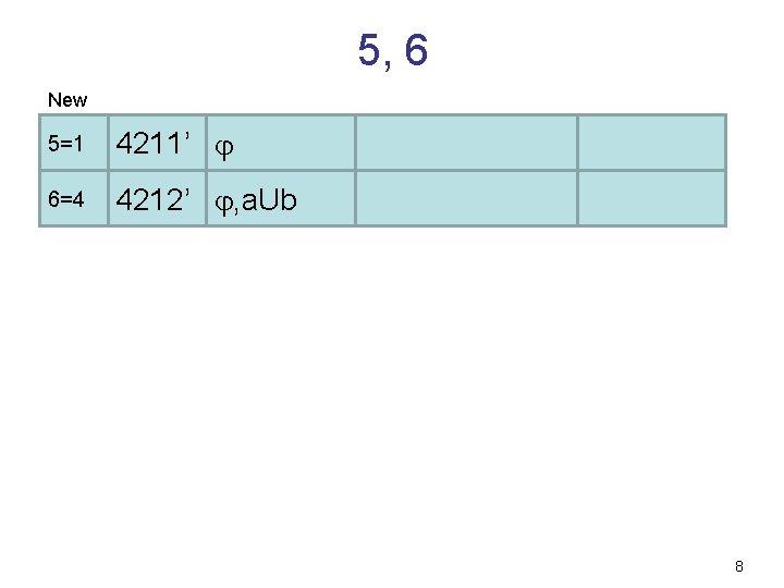 5, 6 New 5=1 4211' 6=4 4212' , a. Ub 8