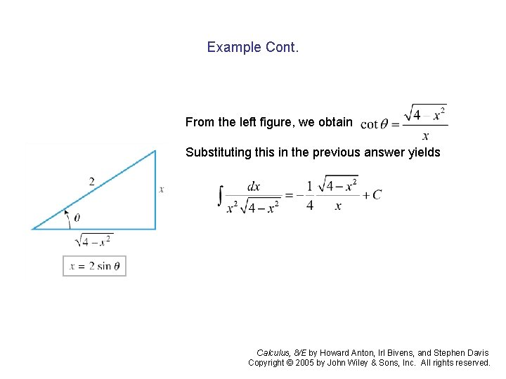 Example Cont. From the left figure, we obtain Substituting this in the previous answer