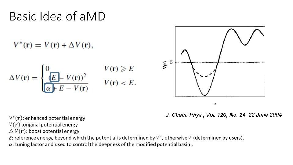 Basic Idea of a. MD J. Chem. Phys. , Vol. 120, No. 24, 22