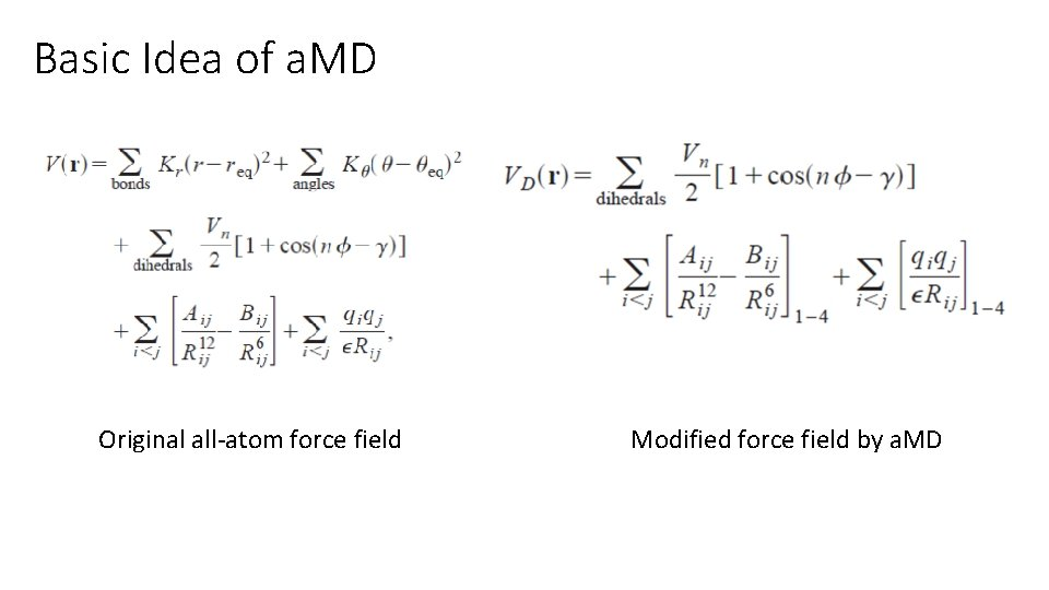Basic Idea of a. MD Original all-atom force field Modified force field by a.