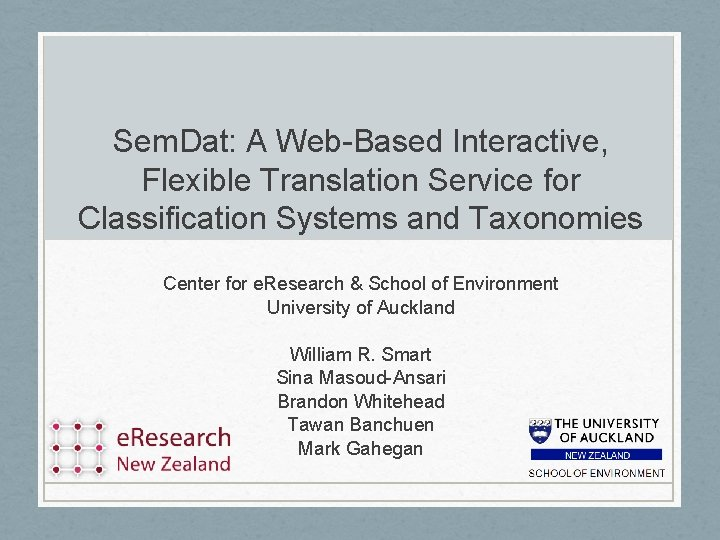 Sem. Dat: A Web-Based Interactive, Flexible Translation Service for Classification Systems and Taxonomies Center