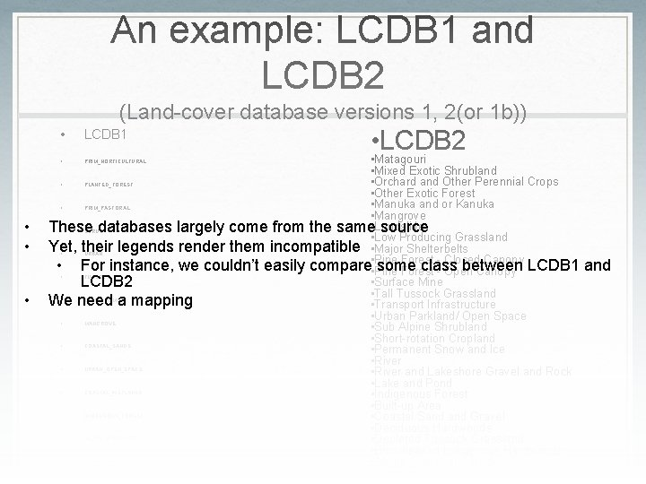 An example: LCDB 1 and LCDB 2 (Land-cover database versions 1, 2(or 1 b))