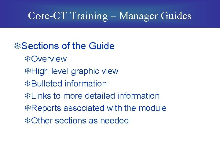 Core-CT Training – Manager Guides TSections of the Guide TOverview THigh level graphic view