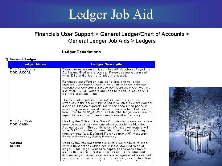 Ledger Job Aid Financials User Support > General Ledger/Chart of Accounts > General Ledger