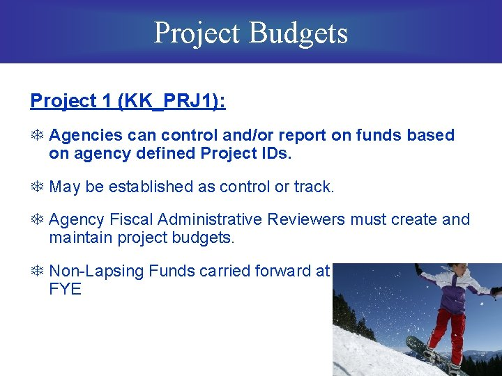 Project Budgets Project 1 (KK_PRJ 1): T Agencies can control and/or report on funds