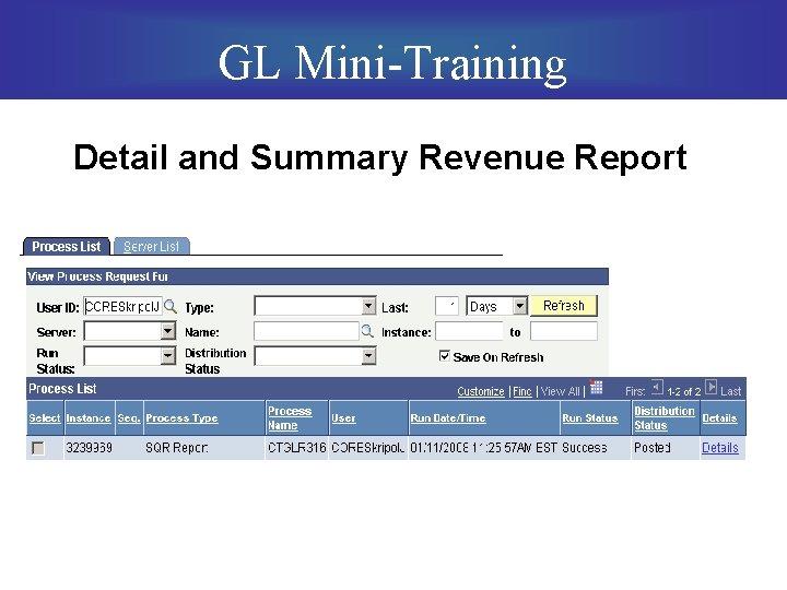 GL Mini-Training Detail and Summary Revenue Report